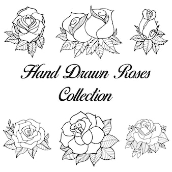 Hand getekende zwart-wit rozen collectie