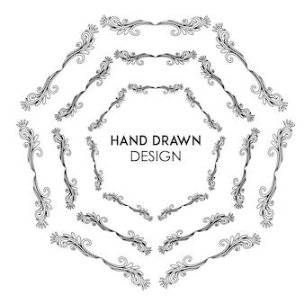 Hand getekende zwart-witte bloemenring