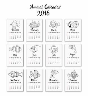 Hand getekende zwart-witte vis kalender 2018