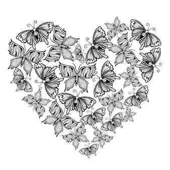 Hand getekende zwarte en witte vlinders achtergrond