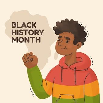 Hand getekende zwarte geschiedenis maand illustratie