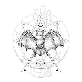 Hand getekende zwarte vleermuis en palm hand schets illustratie