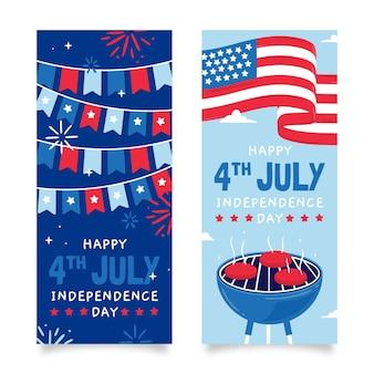 Hand getrokken 4 juli onafhankelijkheidsdag banners instellen