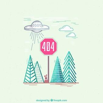 Hand getrokken 404-fout