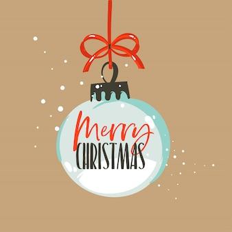 Hand getrokken abstracte leuke prettige kerstdagen en gelukkig nieuwjaar tijd cartoon afbeelding wenskaart met xmas sneeuwbol en merry christmas tekst op ambachtelijke achtergrond