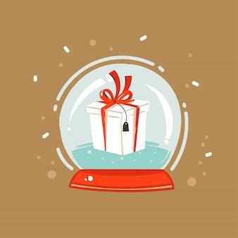 Hand getrokken abstracte leuke prettige kerstdagen en gelukkig nieuwjaar tijd cartoon afbeelding wenskaart met xmas verrassing geschenkdoos in sneeuwbol bol op bruine achtergrond