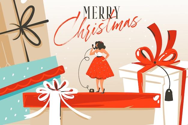 Hand getrokken abstracte leuke prettige kerstdagen en gelukkig nieuwjaar tijd cartoon illustratie wenskaart met xmas verrassing geschenkdozen, meisje en merry christmas tekst op ambachtelijke achtergrond.