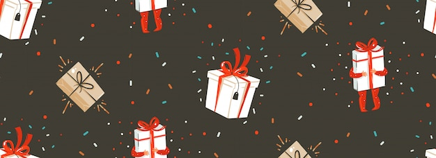 Hand getrokken abstracte prettige kerstdagen en gelukkig nieuwjaar tijd cartoon nordic naadloze patroon met leuke illustratie van verrassing geschenkdozen en kinderen tekens op zwarte achtergrond.