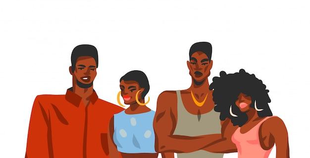 Hand getrokken abstracte voorraad grafische illustratie met jonge gelukkige vrouwen en mannen van schoonheidsstudenten vriendengroep op witte achtergrond