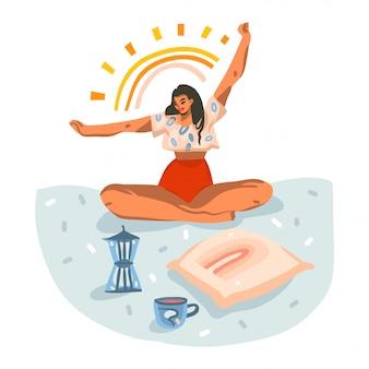 Hand getrokken abstracte voorraad grafische illustratie met jonge lachende gelukkig vrouwtje hebben ochtend stretch thuis yoga met confetti geïsoleerd op een witte achtergrond