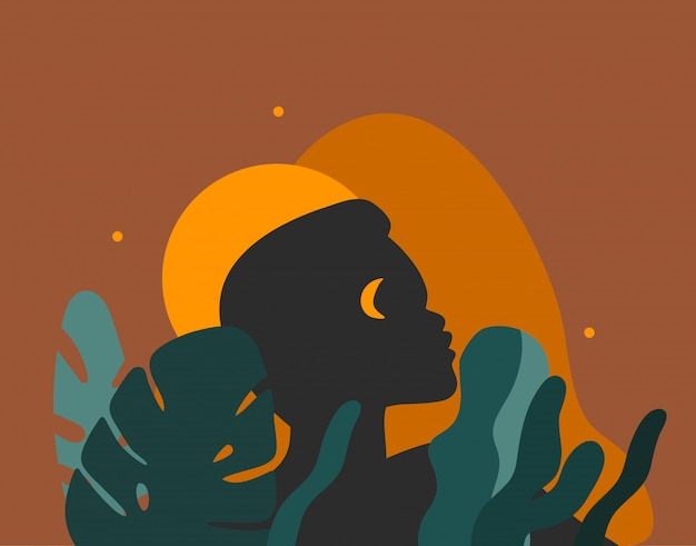 Hand getrokken abstracte voorraad grafische illustratie met jonge schoonheid mensen silhouet portretten, concept van de nacht het stammen afrikaanse vrijheid op kleurenachtergrond.