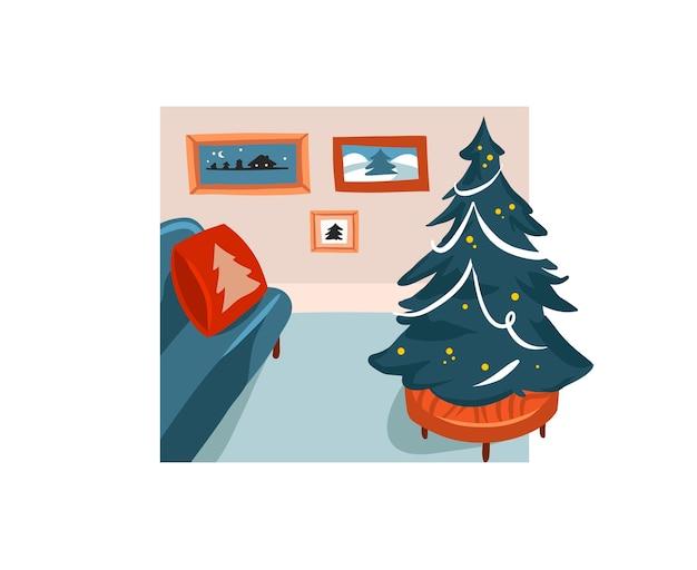 Hand getrokken abstracte voorraad prettige kerstdagen en gelukkig nieuwjaar cartoon feestelijke illustraties
