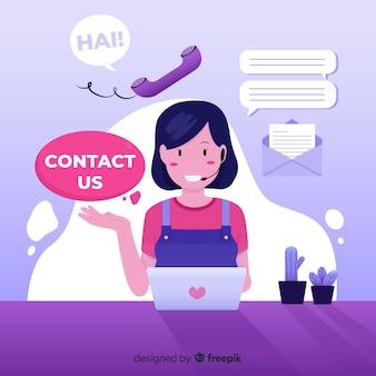 Hand getrokken achtergrond sjabloon voor contactinformatie