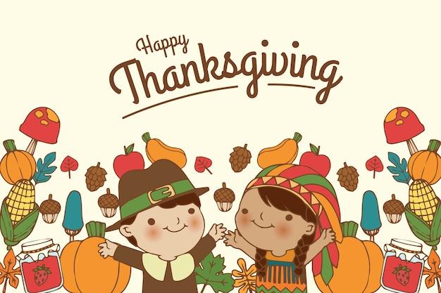 Hand getrokken achtergrond thanksgiving