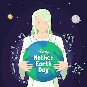Hand getrokken achtergrond van moeder aarde dag