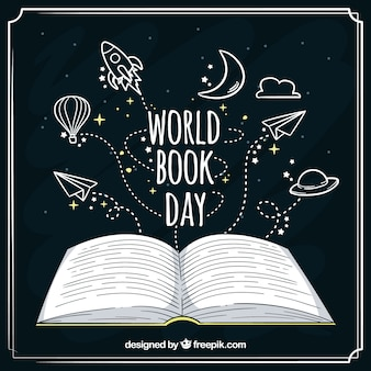 Hand getrokken achtergrond voor de dag van het boek van de wereld