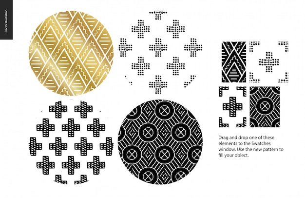 Hand getrokken afgeronde patroon set