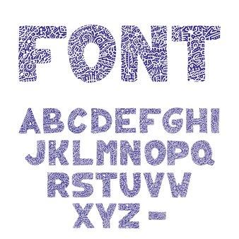 Hand getrokken alfabet met vintage letters