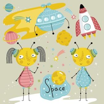 Hand getrokken aliens op ruimte
