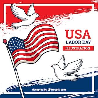 Hand getrokken amerikaanse dag van de arbeid samenstelling