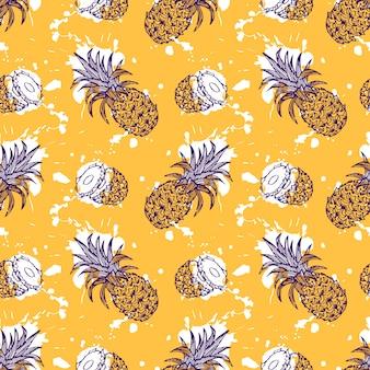 Hand getrokken ananas naadloze patroon met wiggen en spatten effect