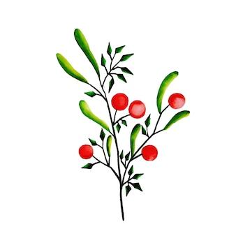 Hand getrokken aquarel kerst cherry & bladeren