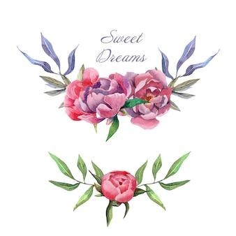 Hand getrokken aquarel omhult composities met bloemen en bladeren van de pioenroos
