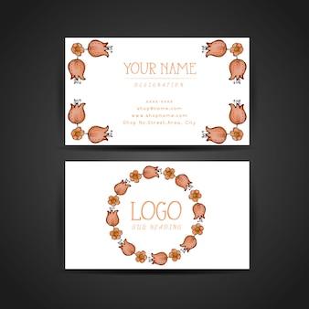 Hand getrokken aquarel oranje bloemen visitekaartje ontwerp