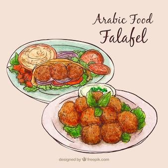 Hand getrokken arabisch eten menu's