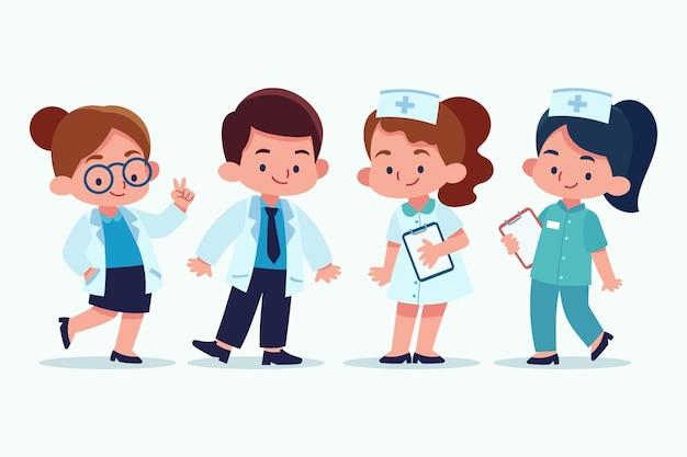 Hand getrokken artsen en verpleegsters