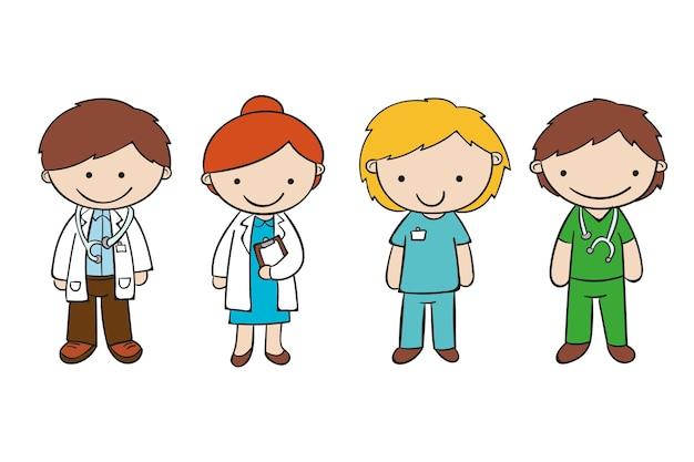 Hand getrokken artsen en verpleegstersinzameling