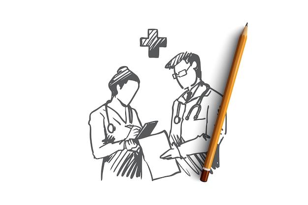 Hand getrokken artsen in kliniek bespreken medische kwesties concept schets