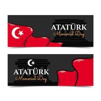 Hand getrokken ataturk herdenkingsdag horizontale banners set
