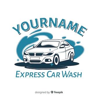 Hand getrokken autowassen logo achtergrond