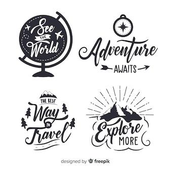 Hand getrokken avontuur logo-collectie