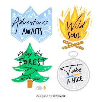 Hand getrokken avontuur logo's collectie