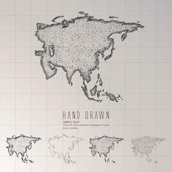 Hand getrokken azië kaart.