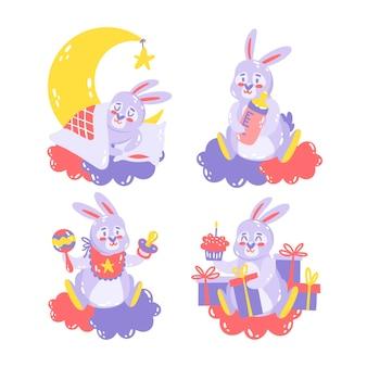Hand getrokken baby shower stickers illustratie