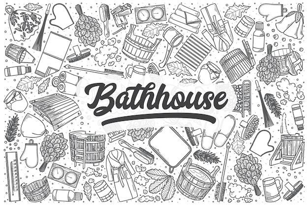 Hand getrokken badhuis doodle set. belettering - badhuis