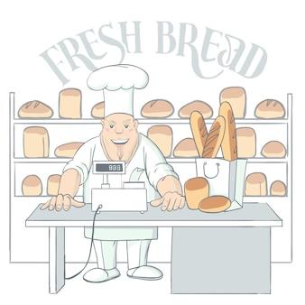 Hand getrokken baker karakter in winkel illustratie
