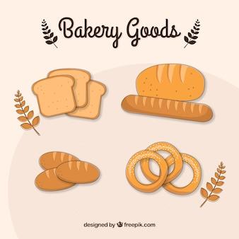 Hand getrokken bakken goederen