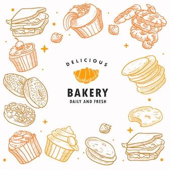 Hand getrokken bakkerij, gebak, ontbijt, brood, snoep, dessert, illustratie