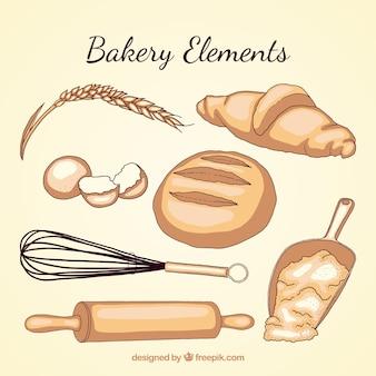 Hand getrokken bakkerij gebruiksvoorwerpen met nreads