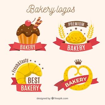 Hand getrokken bakkerij logo's collectie