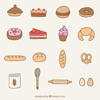 Hand getrokken bakkerij product en dessert collectie