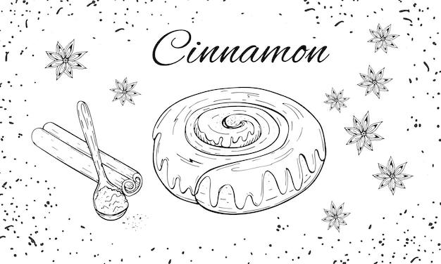 Hand getrokken bakkerij set met kaneelbroodje broodje