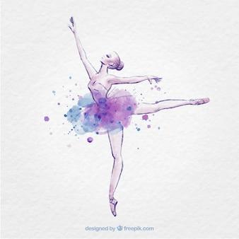 Hand getrokken ballerina met inkt splash
