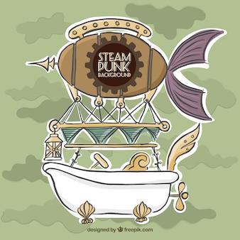 Hand getrokken ballon en ligbad steampunk achtergrond