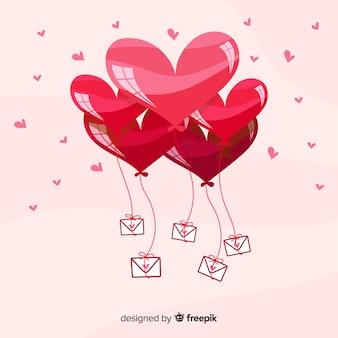 Hand getrokken ballonnen hart achtergrond