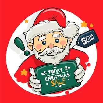 Hand getrokken banner kerstmis verkoop